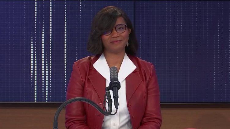 Élisabeth Moreno, ministre déléguée chargée de l'Égalité entre les femmes et les hommes, de la Diversité et de l'Égalité des chances, était l'invitée de franceinfo samedi 20 février 2021. (FRANCEINFO / RADIO FRANCE)