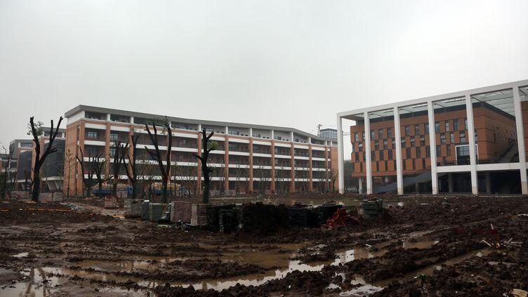 Des centaines d'élèves sont tombés malades après une contamination aux produits chimiques, sur ce campusscolaire situé à Changzhou (Chine) et photographié le 18 avril 2016. (IMAGINECHINA / REUTERS)