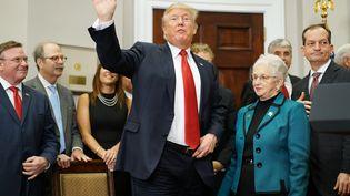 Donald Trump dans la Roosevelt Room de la Maison Blanche à Washington, le 2 octobre 2017 (MANDEL NGAN / AFP)