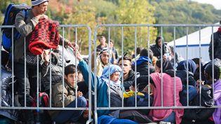 Des migrants patientent à la frontière entre la Slovénie et l'Autriche, le 18 octobre 2015, à Sentilj (Slovénie). (JURE MAKOVEC / AFP)