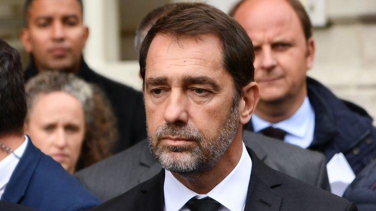 Le ministre de l'Intérieur Christophe Castaner tient une conférence de presse à Paris, le 3 octobre 2019, après la tuerie à la préfecture de Police de Paris qui a fait 4 morts. (JULIEN MATTIA / ANADOLU AGENCY/AFP)