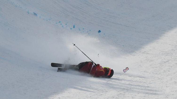 Le Français Kevin Rolland est tombé aux JO de Pyeongchang jeudi 22 février. (ANGELIKA WARMUTH / DPA)