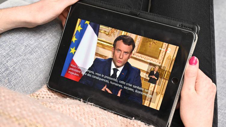 Emmanuel Macron, le 16 mars 2020. (DAMIEN MEYER / AFP)