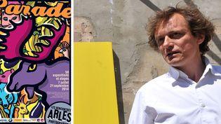 L'affiche des Rencontres d'Arles (2014) et François Hébel, son directeur, qui passera la main l'an prochain (ici en 2008)
