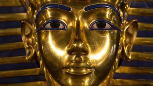 """Une réplique du masque funéraire du pharaon égyptien Toutankhamon présentée lors de l'exposition """"Toutankhamon, sa tombe et ses trésors"""", à Berlin (Allemagne), le 7 mars 2013. (SOEREN STACHE / DPA / AFP)"""