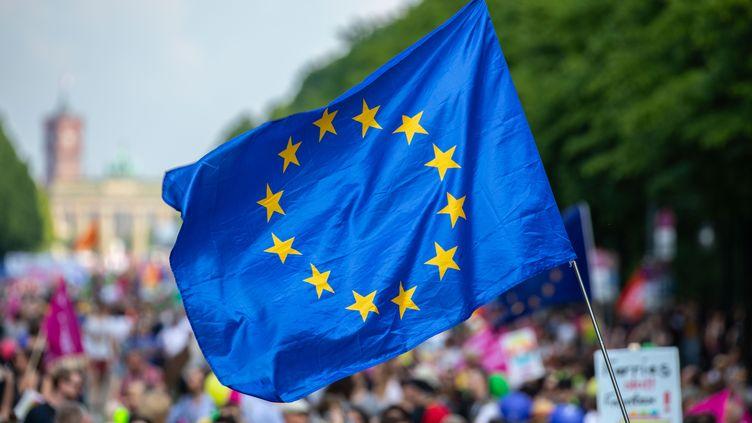 Un manifestant brandit le drapeau de l'Union européenne lors de la manifesation pro-européenne, à Berlin le 19 mai 2019. (OMER MESSINGER / AFP)