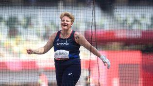 Alexandra Tavernier (ici le 1er août 2021) vise une médaille au lancer de marteau. (MONTIGNY PHILIPPE / KMSP / AFP)