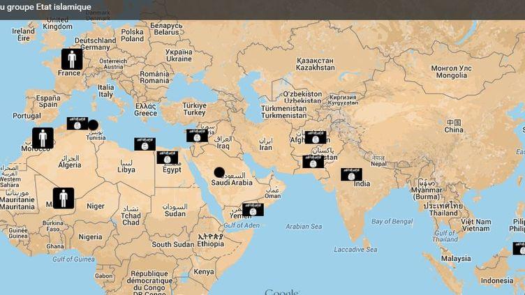 La carte des alliés de l'Etat islamique dans le monde. (GGOGLE MAPS / FRANCETV INFO)