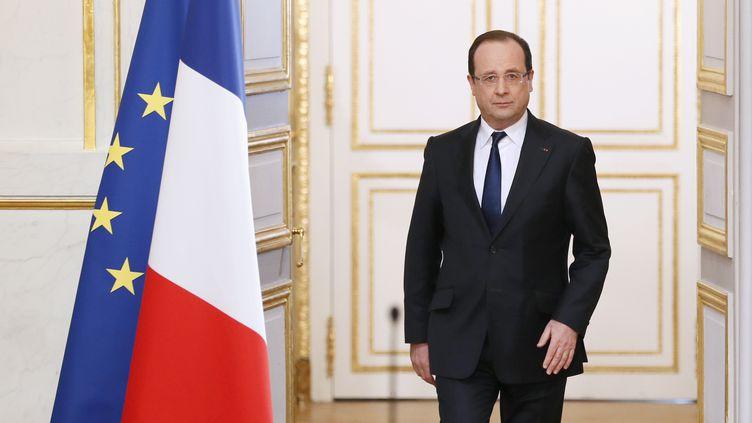 François Hollande lors d'une conférence de presse à l'Elysée, le 10 avril. (PATRICK KOVARIK / AFP)