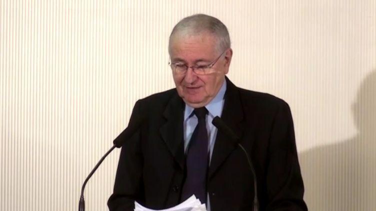 Capture d'écran du discours de Jacques Cheminade mercredi à Saint-Ouen (Seine-Saint-Denis) (DR)