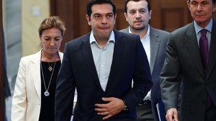 Le Premier ministre, Alexis Tsipras, à Athènes (Grèce) le 6 juillet 2015. (LOUISA GOULIAMAKI / AFP)