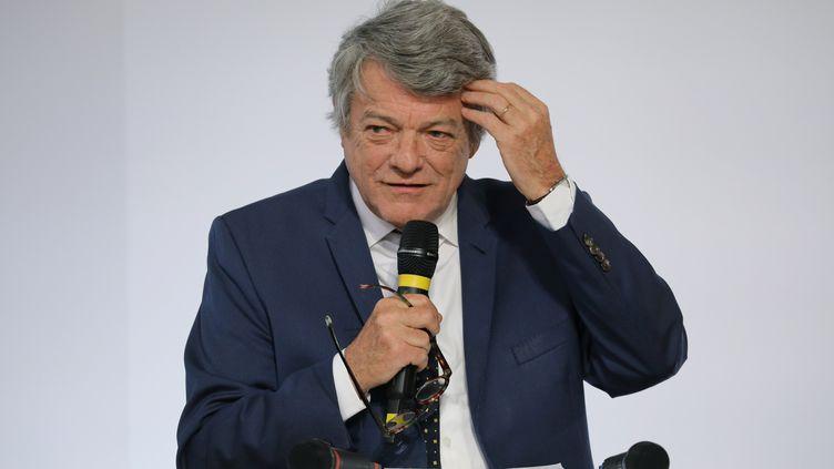 Jean-Louis Borloo lors d'une présentation de son plan banlieues, le 22 mai 2018, à Paris. (LUDOVIC MARIN / AFP)