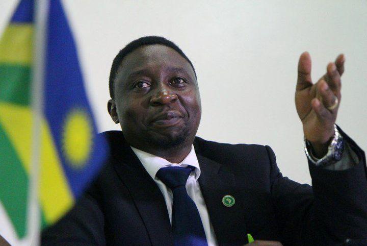 Frank Habineza, leader du parti démocratique vert, seule force d'opposition rwandaise, en décembre 2016 à Kigali (Rwanda) (STEPHANIE AGLIETTI / AFP)