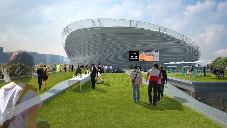 Visualisation du futur site de Roland-Garros, dévoilée, le 14 mai 2009, par l'architecte Marc Mimram. (MARC MIMRAM / FFT / AFP)