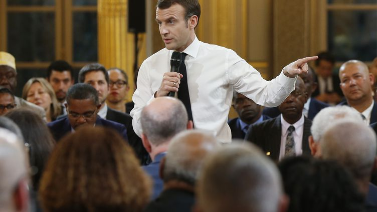 Emmanuel Macron àParis, le 1er février 2019. (MICHEL EULER / POOL / AFP)