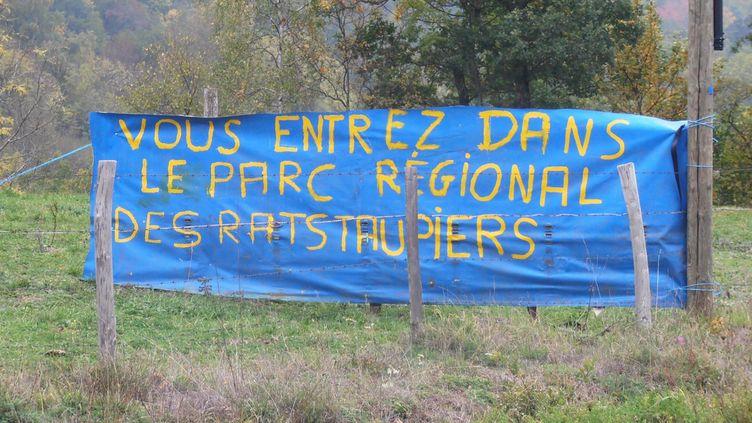 Les agriculteurs ont installé des banderoles au bord des routes du Cantal pour dénoncer la pullulation des rats taupiers. (COLLECTIF CONTRE LES RATS TAUPIERS)
