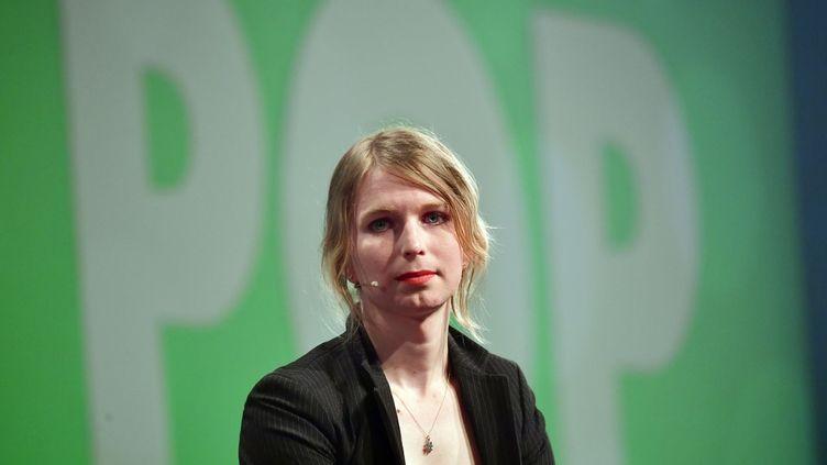 Chelsea Manning, le 2 mai 2018, lors d'une convention à Berlin (Allemagne). (TOBIAS SCHWARZ / AFP)