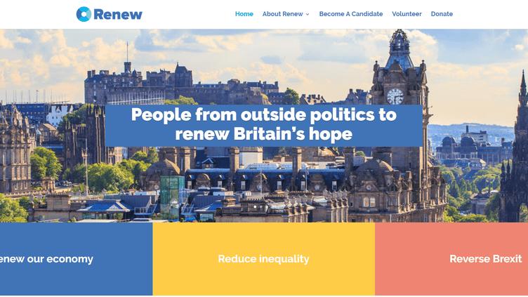 Capture d'écran du site du parti britannique Renew. (CAPTURE D'ECRAN RENEWBRITAIN.ORG)