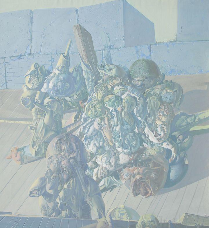 Dado, Casque obligatoire, 1970, huile sur toile, 210x185  (Fonds de l'abbaye d'Auberive / Dado )