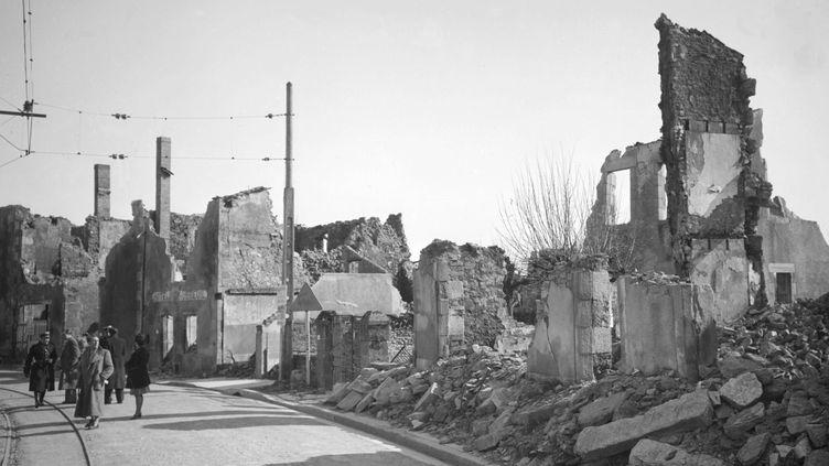Une photographie d'Oradour-sur-Glane, village martyrisé par les nazis, en 1944. ( AFP )