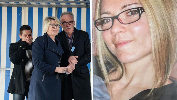 La famille d'Alexia Daval et son mari Jonathann Daval, le 5 novembre 2017, à Gray en Haute-Saône. (SEBASTIEN BOZON / AFP)