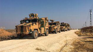 Des véhicules blindés turcsen Syrie, dans la région de Dirbassiyeh, le 1er novembre 2019. (TURKISH ARMY / AFP)