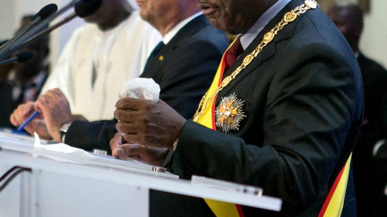 Le président malien, Ibrahim Boubacar Keïta, lors de la cérémonie d'investiture de son mandat, à laquelle a assisté François Hollande, le 19 septembre 2013 à Bamako (Mali). (MAXPPP)
