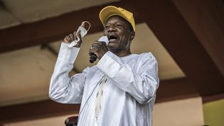 Le président guinéen Alpha Condé, lors d'un rassemblement électoral à Conakry, le 16 octobre 2020. (JOHN WESSELS / AFP)