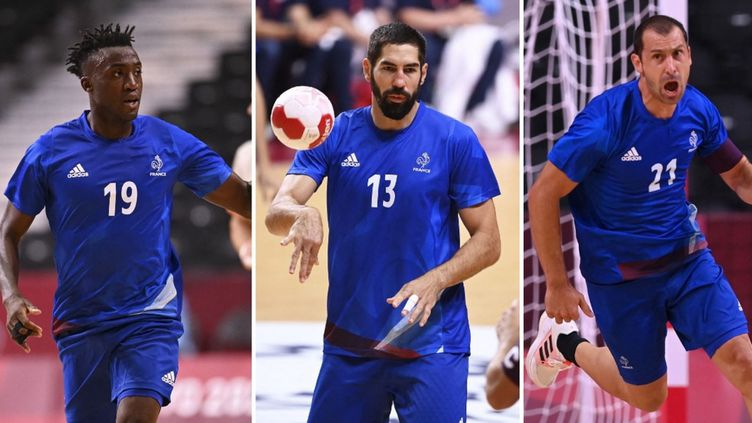 Luc Abalo, Nikola Karabatic et Michaël Guigou lors des Jeux olympiques de Tokyo 2021. (AFP)