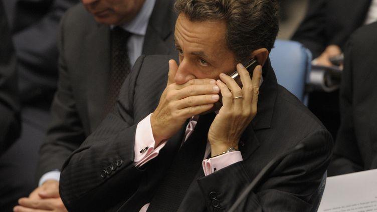 Nicolas Sarkozy, lors d'une réunion du Conseil de sécurité de l'ONU, à New York (Etats-Unis), le 24 septembre 2009. (EMMANUEL DUNAND / AFP)