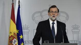 Lechef du gouvernement espagnol, Mariano Rajoy, à Madrid, le 1er octobre 2017. (JAVIER SORIANO / AFP)