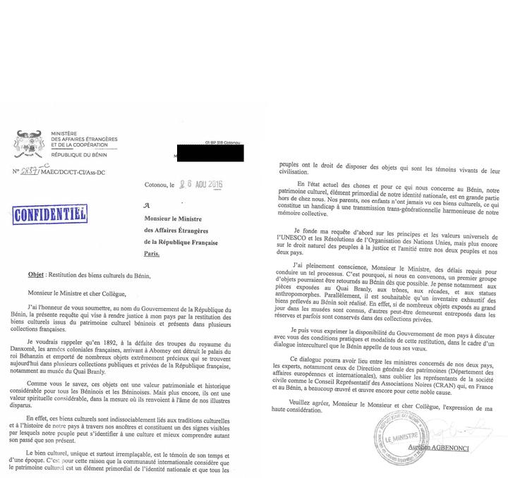 Lettre de demande officielle du gouvernement officiel béninois réclamant la restitution d'œuvres conservées en France, datée du 26 août 2016. (DR)
