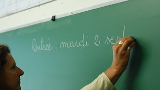Une institutrice écrit sur un tableau dans une salle de classe de l'école Michelet à Valence (Drôme) dans le cadre d'un stage de pré-rentrée, le 29 août 2014. (CHRISTOPHE ESTASSY / CITIZENSIDE /  AFP)