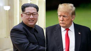 Montage de deux photoscréée le 24 mai 2018. L'une prise le 3 mai 2018 par l'Agence de presse officielle de Corée du Nord (KCNA) duleader nord-coréen Kim Jong Un. La deuxième montre le président américain Donald Trump à laMaison Blanche, prise le 23 mai 2018 à Washington.  (KCNA / AFP)