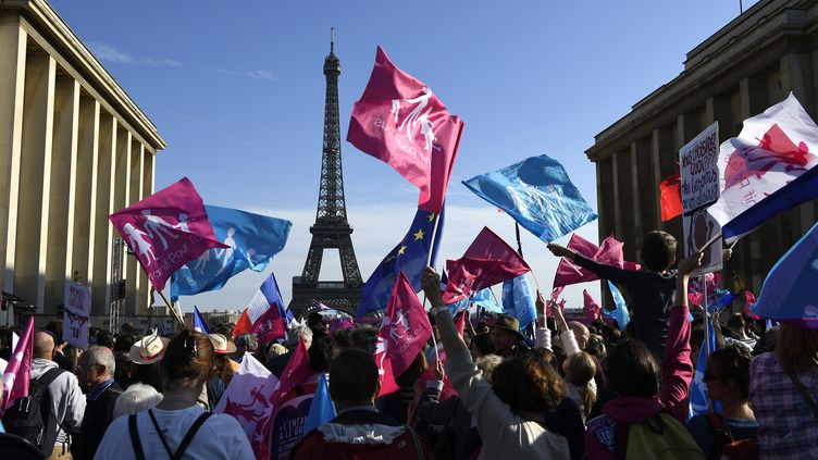 Lecortège de la Manif pour tous, le 16 octobre 2016, sur le Trocadéro, à Paris. (ERIC FEFERBERG / AFP)