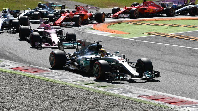 Le Britannique Lewis Hamilton (Mercedes) devant le restant de la meute lors du Grand Prix d'Italie, à Monza. (ANDREJ ISAKOVIC / AFP)