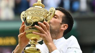 Novak Djokovica remportéson sixièmetournoi deWimbledon, dimanche 11 juillet 2021, son vingtième Grand Chelem en carrière. (GLYN KIRK / AFP)