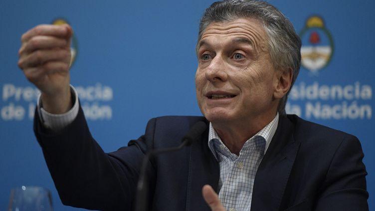 Le président argentin Mauricio Macri, lors d'une conférence de presse à Buenos Aires, le 12 août 2019. (JUAN MABROMATA / AFP)