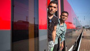 Des migrants à bord de l'un des trains arrêtés par la police autrichienne à la frontière avec la Hongrie, le 31 août 2015 à Hegyeshalom (Autriche). (VLADIMIR SIMICEK / AFP)