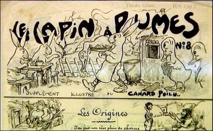 """La Une du """"Lapin à Plumes"""", l'un des journaux publiés au front (détail)  (DR)"""