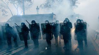 """Des gendarmes mobiles sur le quai des Tuileries à Paris, le 1er décembre 2018,lors de la mobilisation des """"gilets jaunes"""" dans la capitale. (YANN LEVY / HANS LUCAS / AFP)"""