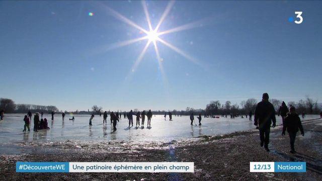 Bas-Rhin : patinoire éphémère au milieu des champs