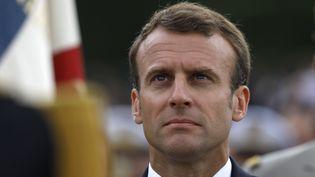 Emmanuel Macron participe à une commémoration de l'appel du 18 juin 1940 de Charles de Gaulle, le 18 juin 2018, à Suresnes (Hauts-de-Seine). (CHARLES PLATIAU / AFP)
