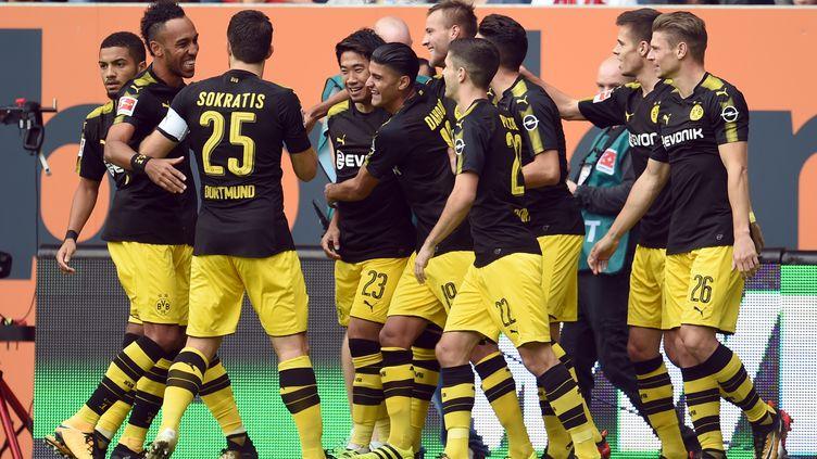 La joie collective du Borussia. (ANDREAS GEBERT / DPA)