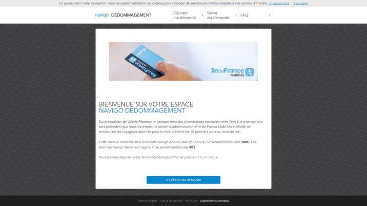 La page mondedommagementnavigo.fr, mis en place mercredi 20 mai 2020 pour recueillir les demandes de remboursement d'abonnements aux transports en commun franciliens lors de la crise du Covid-19. (ILE DE FRANCE MOBILITES)