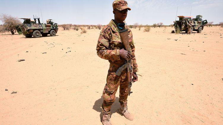 Un soldat malien patrouille dans le cadre de l'opérationBarkhane, le 10 mars 2016, àTimbamogoye (Mali). (PASCAL GUYOT / AFP)