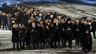 Des rescapés d'Auschwitz et chefs d'Etat ou de gouvernement ont commémoré mardi les 70 ans de la libération du camp d'extermination nazi Auschwitz-Birkenau, le 27 janvier 2015 (ALAIN JOCARD / AFP)