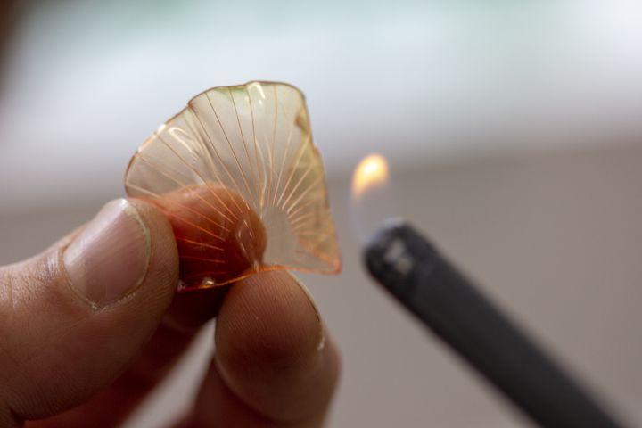 L'art de fabriquer un pétale de fleur en plastique avec une flamme dans l'atelier de William Amor, 2019 (WILLIAM AMOR)