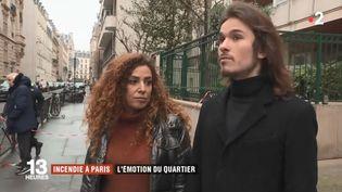 Des rescapés de l'immeuble incendié de la rue Erlanger à Paris témoignent, le 6 février 2019. (FRANCE 2)