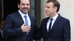 Emmanuel Macron reçoit le Premier ministre libanais démissionnaire, Saad Hariri, le 18 novembre 2017, au palais de l'Elysée à Paris. (MUSTAFA YALCIN / ANADOLU AGENCY / AFP)